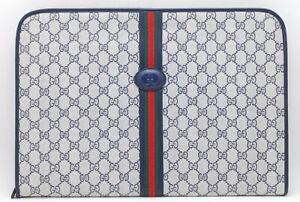 Gucci vintage Sherry Line GG Web PVC Canvas Leather Clutch bag blue From Japan36