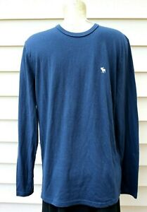 Abercrombie & Fitch Sz L Muscle Long Sleeve T-Shirt Blue - White Embroid. Logo