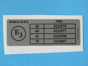 DUCATI 748S  FRAME DECAL DGM  DETAILS L.H.S.  DECAL-EARLY MODELS CAGIVA ERA