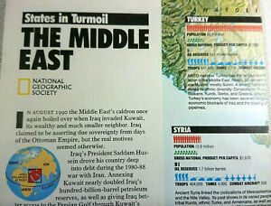 Vintage 1991 The Middle East Wall Map Folded National Geographic February 91