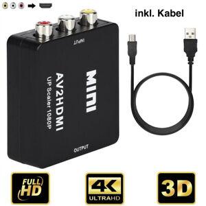 AV HDMI Adapter Konverter Full HD 1080P 4k Video Audio 3 RCA CVBS zu HDMI (NEU)