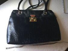 Vintage BALLY Black croc embossed Chain Leather Shoulder Bag Italy goldtone lock