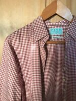 Women's Pink White Gingham check long sleeve shirt blouse, PINK, UK14 vintage