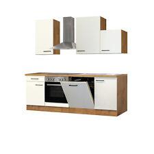 Küchenzeile Küchenblock Einbauküche Elektro-Geräte 220 cm creme matt beige