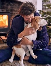 Joules Mens Cosy Time Dressing Gown - NAVY BROWN CHECK Size S/M