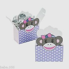 NEW  MISS SOCK MONKEY 12-FAVOR BOX , BIRTHDAY, CHILD ,    PARTY SUPPLIES