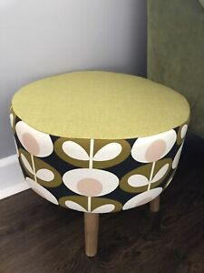 Brand New large round footstool made with Orla Kiely Fabric 🌼