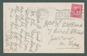 1925 GB - Join the Fellowship - British Empire Exhibition postmark on PPC (L422)