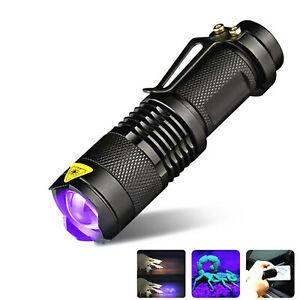 UV Ultra Violet LED Flashlight Blacklight Light 395/365nM Inspection Lamp Torch