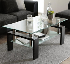 Glass Coffee Table with Lower Shelf, Clear Rectangle Glass Coffee Table, Modern