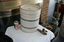 Vintage  Water Cooler with Lid and ice bucket blues strips