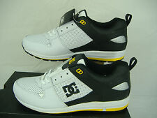 New Mens 12 DC A-250 White Black Yellow Trim Leather Skate Shoes $70