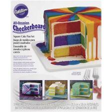 Wilton Checkerboard Square Multicoloured Rainbow Cake Tray Pan Set Of 3 Tins