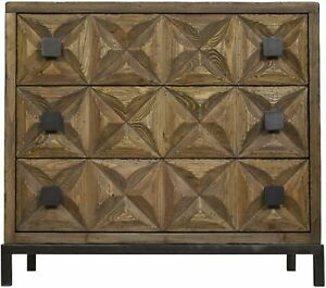 """39"""" Long Chest Dresser 3 Drawers Old Reclaimed Wood Natural Rustic Finish"""