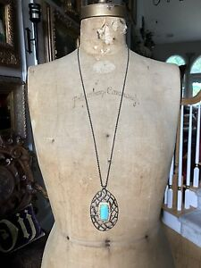 ALEXIS BITTAR Turquoise Pyrite Crystal Gold LONG NECKLACE