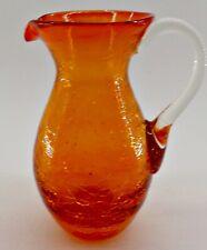 """Orange Crackle Glass Hand Blown Pitcher Applied Handle & Pontil Mark Vintage 4"""""""