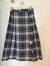 VINTAGE ESPRIT WOMENS WOOL BLEND PLAID KILT FABRIC MADE IN ITALY ADJ WAIST SZ 5