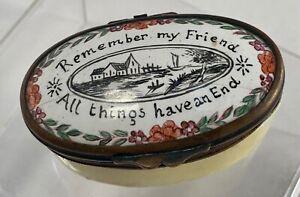 Antique Bilston Battersea Snuff Patch Trinket Box 19th Century
