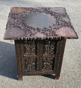 ANTIQUE /  HAND CARVED  SIDE  TABLE ANGLO INDIAN / STORAGE TABLE