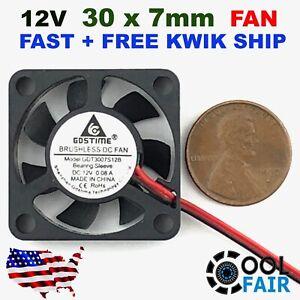 12v 30mm x 7mm DC Cooling Fan 3007 Brushless Mini Case Cooler 30x30x7mm 2pin