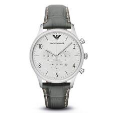 EMPORIO ARMANI da Uomo Cronografo Cinturino in Pelle Grigio Quadrante Argento AR1861