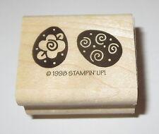 Easter Eggs Rubber Stamp New Stampin' Up! Swirls Flowers Rose Retired Rare Hoppy