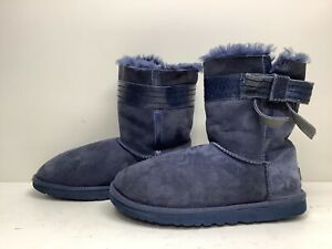 #U VTG WOMENS UGG AUTRALIA WINTER SUEDE BLUE BOOTS SIZE 9