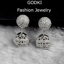 Luxury Full Simulated Diamond Pave Double Sided Eye Balls Silver Jacket Earring
