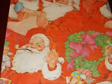 New ListingVtg Christmas Wrapping Paper Gift Wrap 1960 Santa Pipe Wreath List Cute Nos