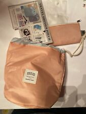 Cosmetic Make Up & Brushes Travel Bag Nylon Wind Blows River Flows Light Peach