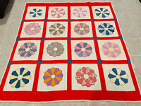 🔥Vintage Dresden Plate Style • Large Hand Stitched Quilt • 73 X 68