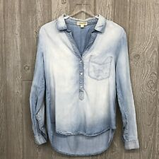 Cloth and Stone Womens Shirt Size Small Chambray Denim 1/2 Button Up