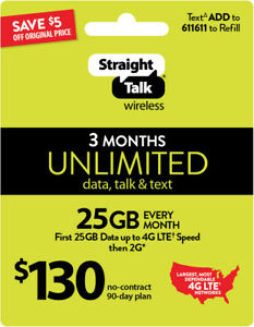 Straight Talk-90 Day Phone Plan-UNLIMITED Talk/Text/Data (NEW ACTIVATIONS ONLY)