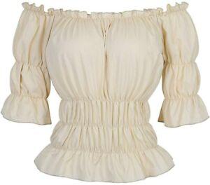 Women Renaissance Blouse Victorian Steampunk Pirate Shirt Off Shoulder Short Sle