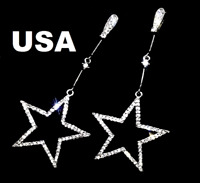 US Seller Betsey Johnson Silver Crystal Star Dangle Earrings fashion jewelry