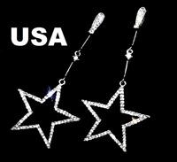 US Seller Betsey Johnson Silver Crystal Star Dangle Earrings fashion jewelry