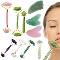 Natural Rose Quartz Facial Jade Stone Roller Face Massager Beauty Massage Tool.