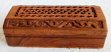 Wooden Box Hand Made Carved Old Unique Design Trinket Jewelry Storage Box