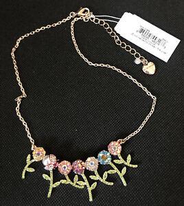 Betsey Johnson Gold Tone Garden Party Crystal Flower & Ladybug Necklace NWT