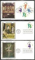 US SC # 1749-1752-1752a American Dance FDC. 5 Covers Set. Colorano Silk Cachet.