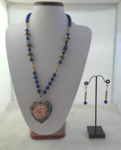 Peking Glass Bead Necklace Set - Cloisonne Pendant Necklace Set - Heart Necklace