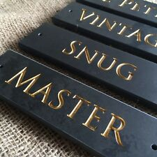 Slate Room/Door Plaque 180 x 50mm ANY NAME No FADE Gold Deep Engraved Lettering