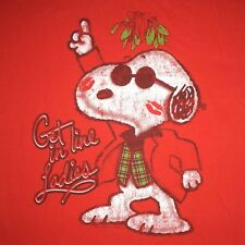 Ugly CHRISTMAS T Shirt L SNOOPY KISSES Get In Line Ladies RED Mistletoe PEANUTS