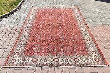 Vintage Oushak Anatolian Rug,Handmade 7.3 x 10.4 ft floral desing livingroom Rug