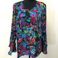 Linea by Louis Dell'Olio Women's Exotic Floral Print Top Blue Multicolored Sz 3X
