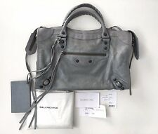 BALENCIAGA Agneau Classic Motorcycle City Bag100% Authentic Gray Blue $1445