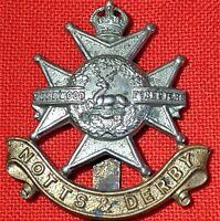 WW1 ERA BRITISH ARMY NOTTS & DERBY REGIMENT UNIFORM CAP BADGE