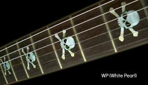 Skull White Silver Guitar Fret board Markers Inlay stickers