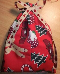 """Christmas Gift Bags / Wrap with Ribbon ties. Fabric. Re-usable. Approx. 6"""" x 4"""""""