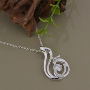 """925 Sterling Silver Beautiful Swirl Pendant Necklace 18"""" Crystal UK Seller"""